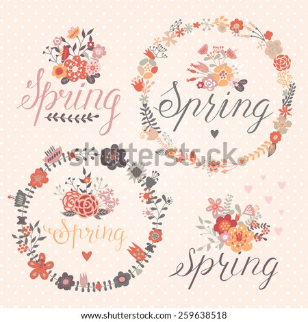 Spring decorative elements - stock vector