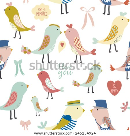 Spring decorative hand drawn seamless pattern with cute lovely birds and bows. Template for design valentine's scrapbooking and wrapping, textile, greeting cards,  packages, backgrounds. - stock vector