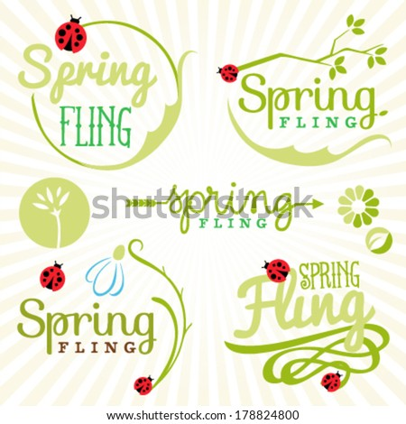 Spring Design Elements. Labels and Badges - stock vector