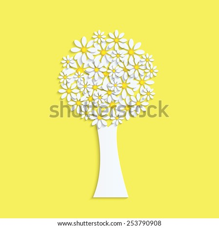 Spring design.Tree with white flowers on a yellow background - stock vector