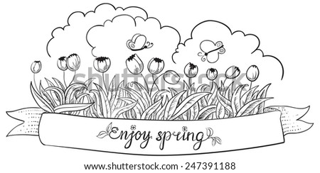 Spring doodle banner with tulips and butterfly - stock vector