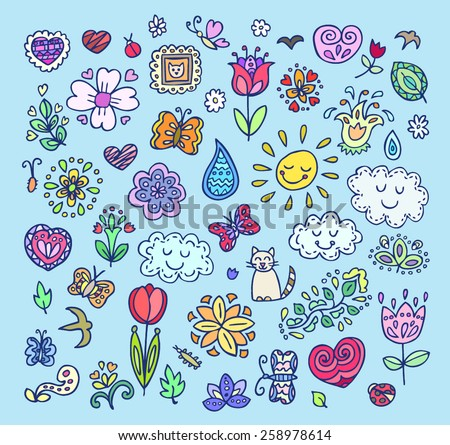 Spring doodles pattern. Hand draw flowers, sun, clouds, butterflies. Season of the blossom, illustration, cute background. - stock vector