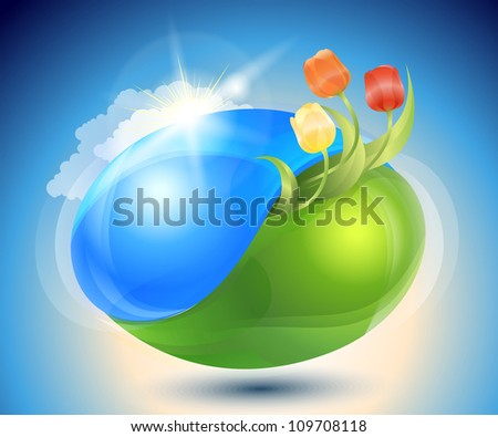 Spring earth. Eco-icon with nature yin-yang