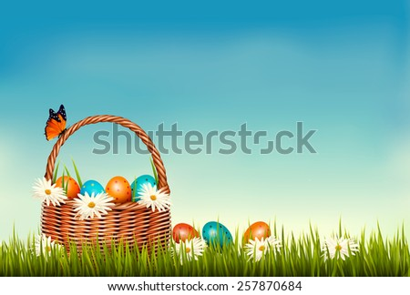 Spring Easter background. Basket with Easter eggs in grass with flowers. Vector.