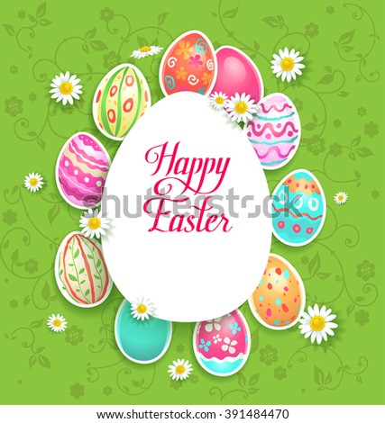 Spring easter eggs and flowers.  Background for design card, banner,ticket, leaflet and so on.Template page with handwritten inscription Happy Easter. Holiday card. Place for text. - stock vector