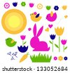 Spring & easter elements set isolated on white - stock vector