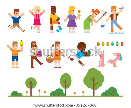Spring Easter kids playing outdoor. Easter eggs, Easter bunny rabbit. Easter kids play vector icons. Easter children playing. Spring, love, childhood. Easter icons, kids isolated - stock vector