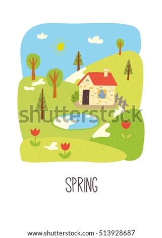 Spring. Educational flash card. School activity book vector eps 10 hand drawn illustration. Preschool poster.