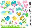 spring elements set - stock vector