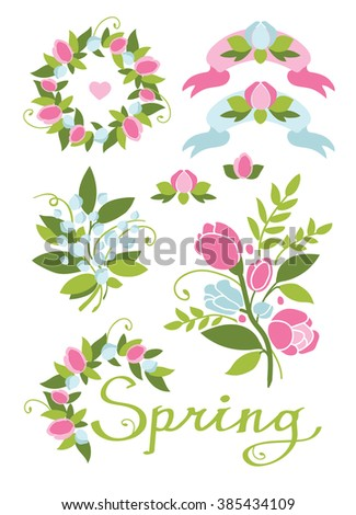Spring elements set romantic wedding decor stock vector 385434109 spring elements set romantic wedding decor pastel colors light background junglespirit Image collections