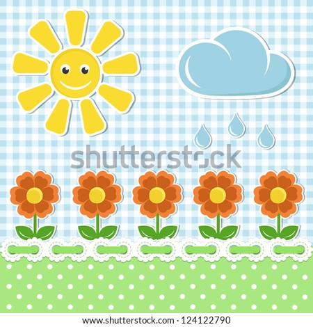 Spring fabric background with sun and flowers - stock vector