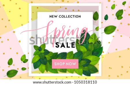 Spring Fashion Sale Flyer Template Lettering Stock Vector 1050318110 ...