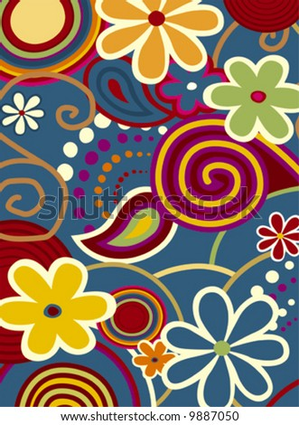 Spring fever, colorful flowers and design ornaments - stock vector