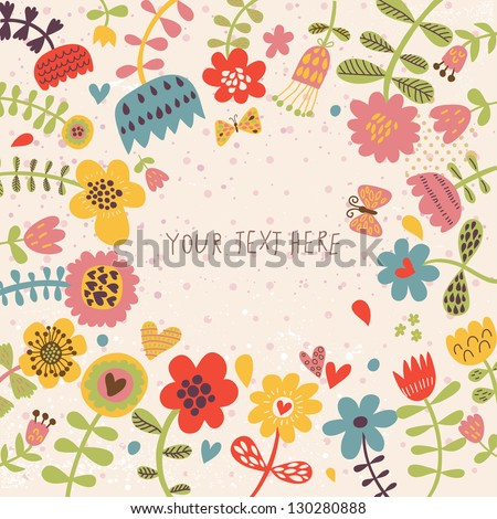Summer time vector illustration with flowers bright juicy colors