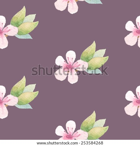 Spring floral background with pink flowers. Painted apple tree blossom. Vector watercolor. - stock vector