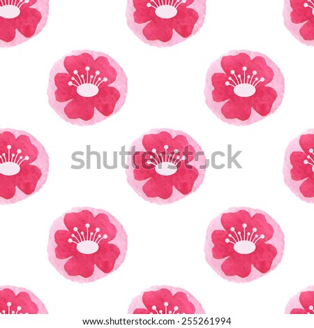 Spring floral background with pink flowers. Painted cherry tree blossom. Vector watercolor. - stock vector