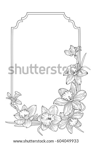 spring floral border frame template with decorated corner daffodils narcissus flowers black and white