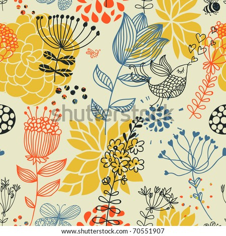 Spring floral design pattern with birds - stock vector