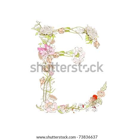 Spring floral font, Letter E - stock vector
