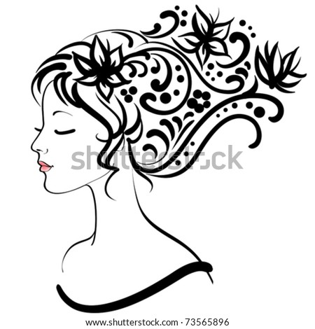 spring floral girl, vector illustration - stock vector