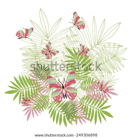 Spring floral illustration with leaves and butterflies. Vector elements for design. - stock vector