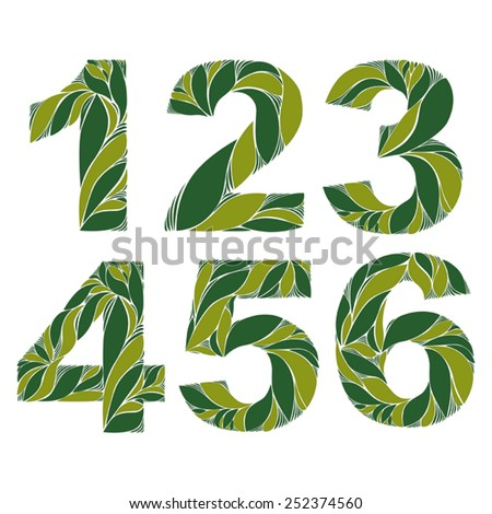 Spring floral numbers, decorative eco style digits with vintage pattern. 1, 2, 3, 4, 5, 6. - stock vector