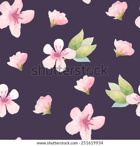 Spring floral pattern with pink flowers against dark background.  Vector watercolor. - stock vector
