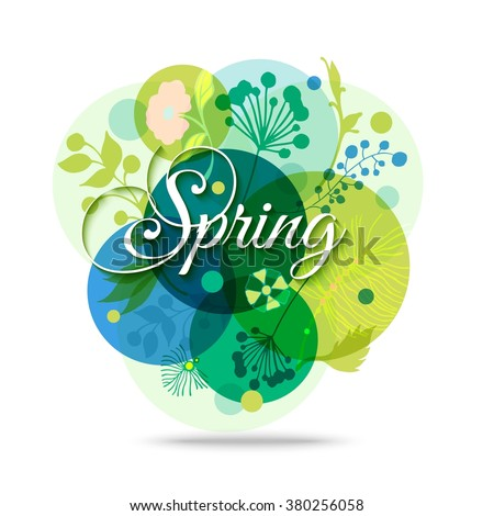 Spring Floral Transparent Background. Spring Mood. Colorful Abstract Flower Background.   Vector Nature Background. - stock vector