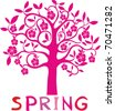 SPRING FLORAL TREE - VECTOR BACKGROUND - stock vector