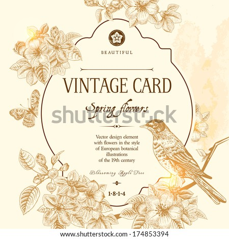 Spring floral vector vintage card with a branch of blossoming apple trees and a bird. Illustration brown on beige background. Victorian style. - stock vector