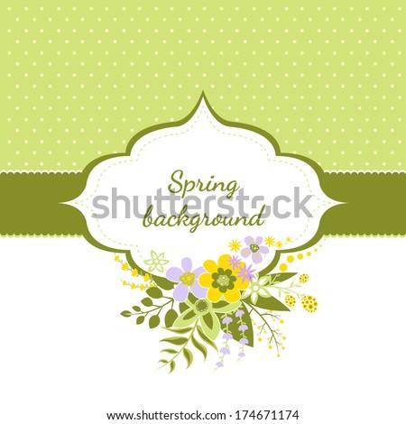 Spring floral vintage background - stock vector
