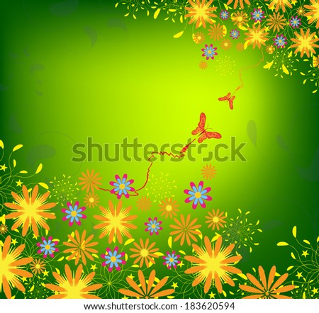 Spring Flower and butterflies Background