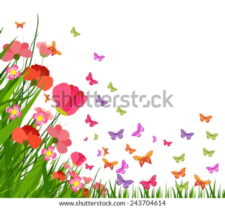 spring flower and butterfly - stock vector