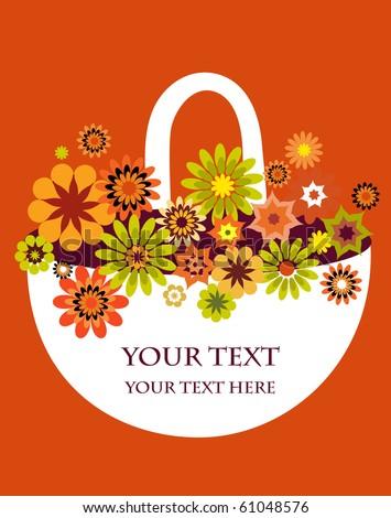 spring flower basket card, vector illustration - stock vector