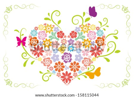 Spring flower Heart with butterflies