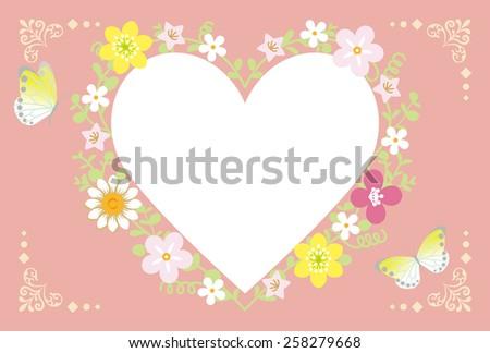 Spring Flower Wreath-Heart pink - stock vector