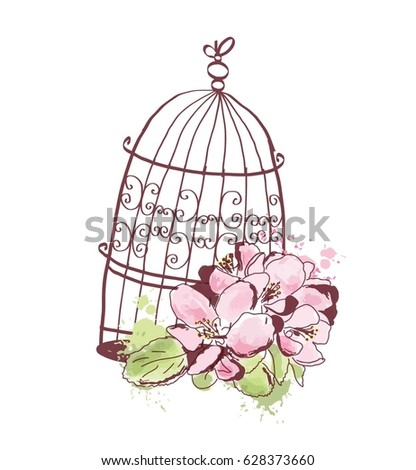 Spring flowers and romantic cage. Watercolor wedding object isolated on white background.