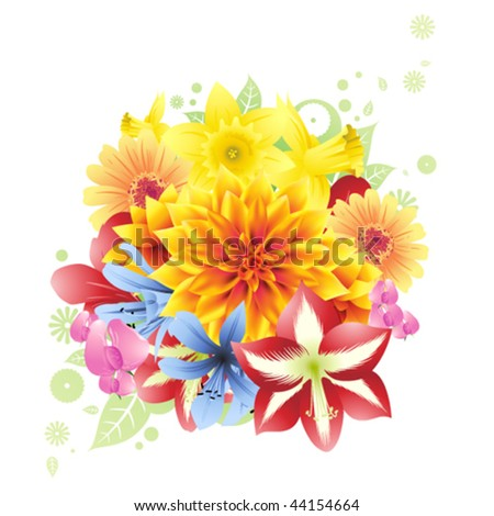 Spring flowers bouquet - stock vector