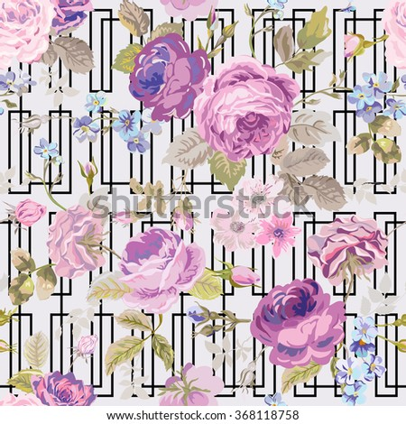 Spring Flowers Geometry Background - Seamless Floral Shabby Chic Pattern - in vector - stock vector