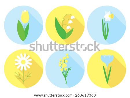 Spring flowers icon set
