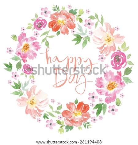 Spring flowers. Illustration, vector. Pattern frame. Hand lettering. - stock vector