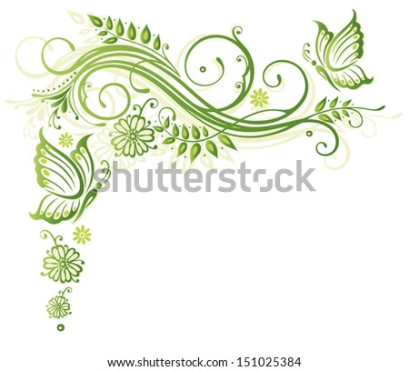 Spring flowers in green - stock vector