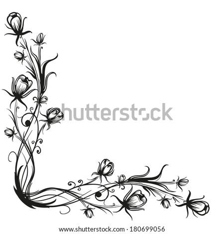 Spring Flowers Pattern Border Black Silhouette