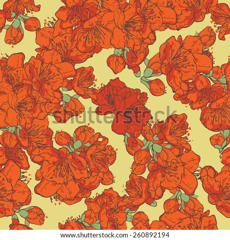 Spring flowers  seamless pattern. Japanese quince blossoms - stock vector