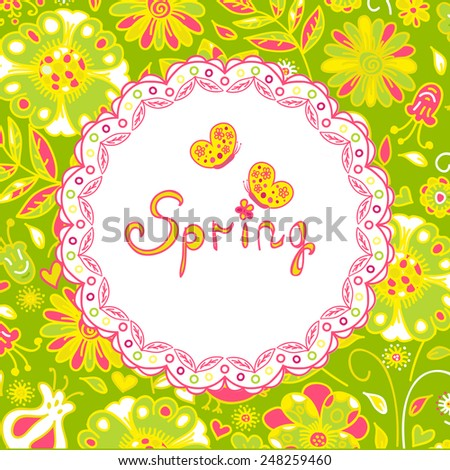 spring flowers, spring background. Vector illustration - stock vector