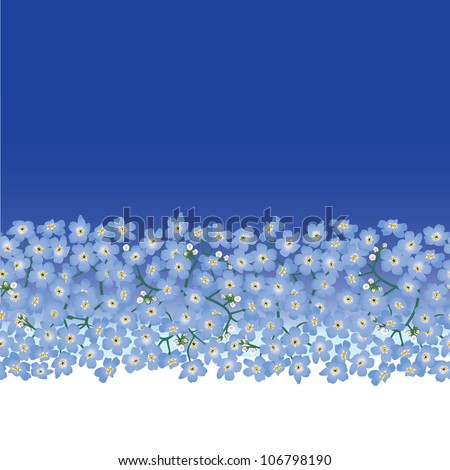 Spring flowers wallpaper. Floral vector border.Forget-me-not flowers seamless pattern. - stock vector
