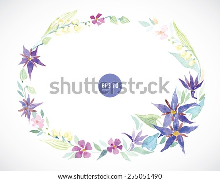 spring flowers wearth, watercolor frame - stock vector