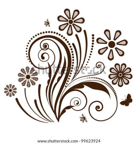 spring flowers  with pattern on petals   with flourish (fully editable)  Butterfly and bee - stock vector