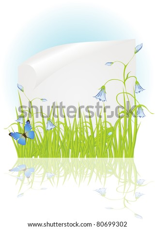 Spring frame with bellflower, green grass and beautiful butterflies - stock vector