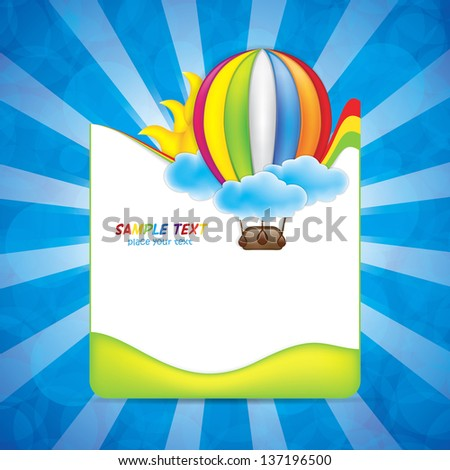 Spring frame with hot air balloon and rainbow - stock vector